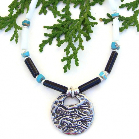 running horses jewelry with black onyx white jasper turquoise