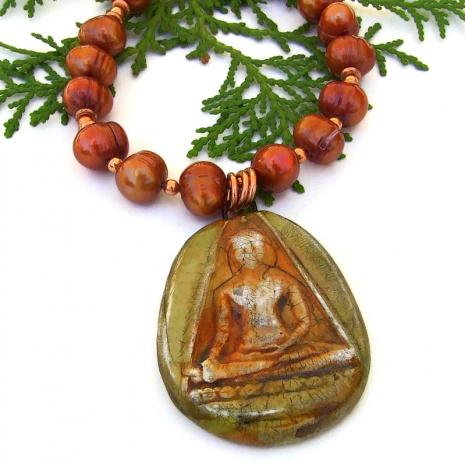 rustic buddha pendant jewelry with copper orange pearls