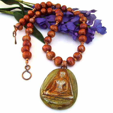 rustic buddha pendant necklace with copper orange pearls
