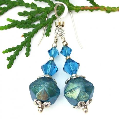 rustic caribbean blue handmade earrings