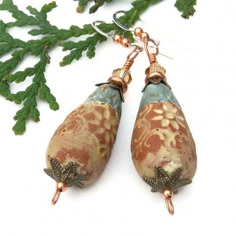 rustic ceramic teardrop flower earrings with swarovski crystals