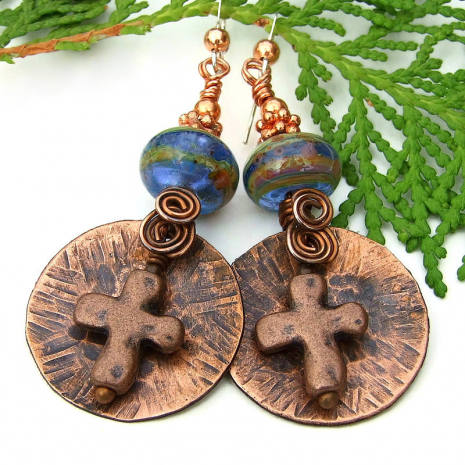 rustic copper cross and lampwork earrings with spirals