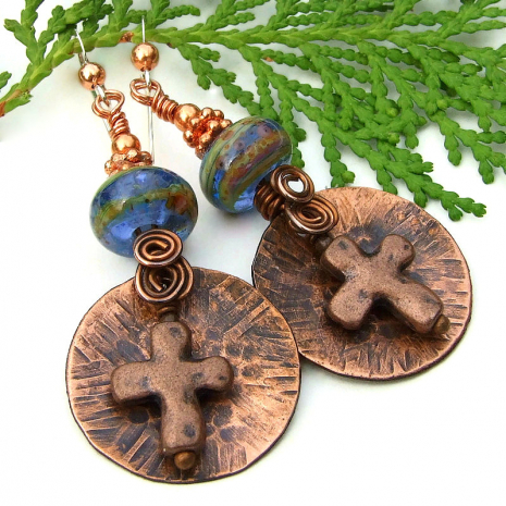 rustic copper cross and lampwork jewelry with spirals
