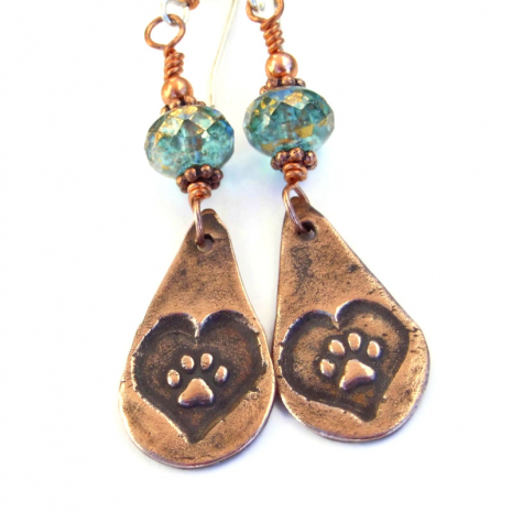 rustic copper dog paw print earrings jewelry gift for women