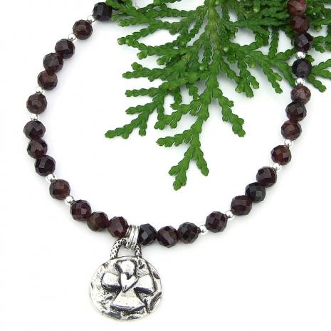 rustic cross heart red garnet handmade necklace artisan sterling siver