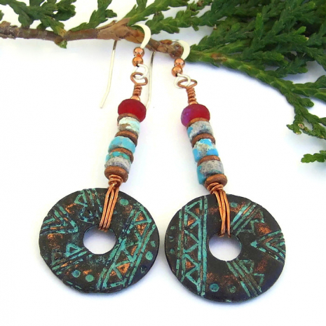rustic handmade tribal earrings