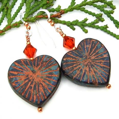 rustic heart earrings copper picasso finish orange swarovski crystals