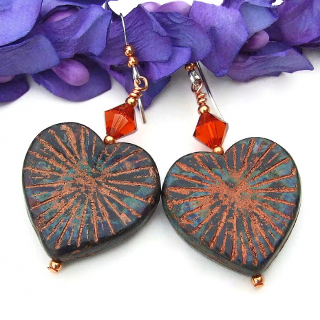 rustic heart jewelry copper picasso finish orange swarovski crystals