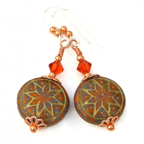 rustic ishtar star of venus goddess earrings