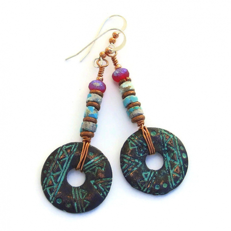 rustic mykonos geometric donut and turquoise heishe earrings gift for women