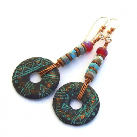 rustic mykonos geometric donut and turquoise heishe jewelry gift for women