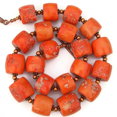 rustic orange coral drum necklace for her