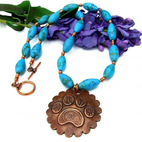rustic paisley copper dog paw print jewelry gemstones