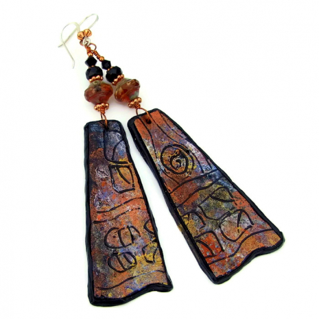 big and bold polymer clay petroglyph earrings