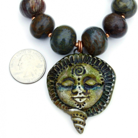 rustic polymer clay goddess pendant jewelry