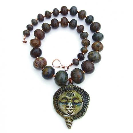 rustic polymer clay goddess pendant necklace with jasper gemstones