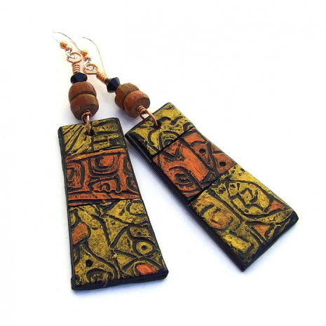 rustic polymer clay handmade dangle earrings gift for her