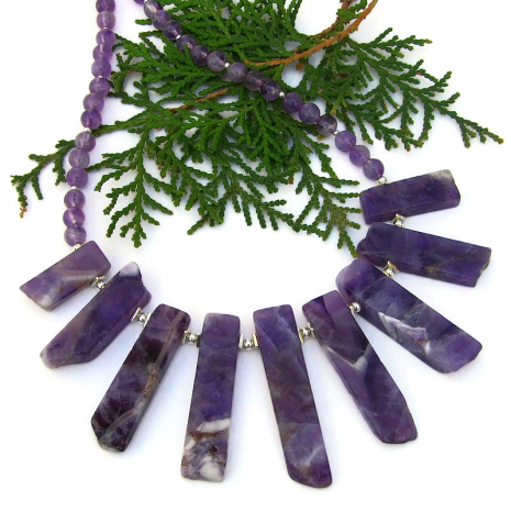 rustic purple chevron amethyst stick necklace sterling silver gift for her