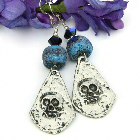 rustic skull dangle earrings day of the dead