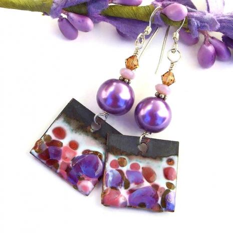 rustic spotted enamel earrings with Swarovski crystal pearls