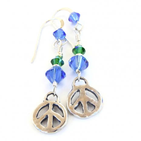 rustic sterling silver peace signs earrings gift for her