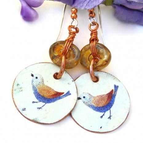 blue and brown bird rustic earrings
