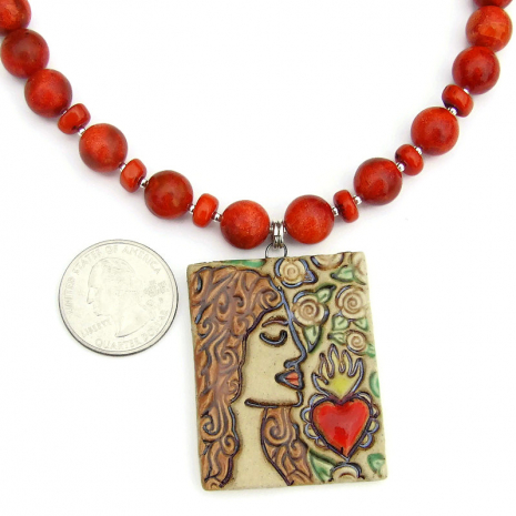 sacred heart and woman ceramic pendant jewelry gift for her