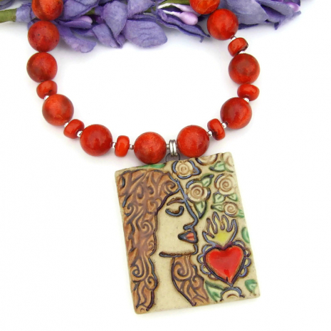 sacred heart pendant and red orange sponge coral  jewelry