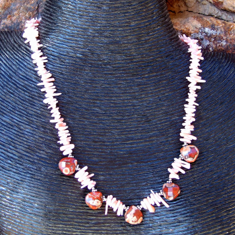 Beautiful apple jasper and coral frangia bead-style handmade necklace..