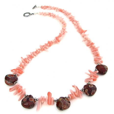 Handmade beach inspired necklace with apple jasper and coral frangia.