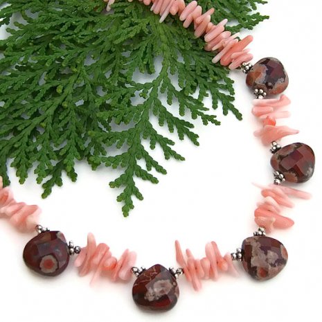 Unique, one of a kind beaded gemstone and coral handmade necklace.
