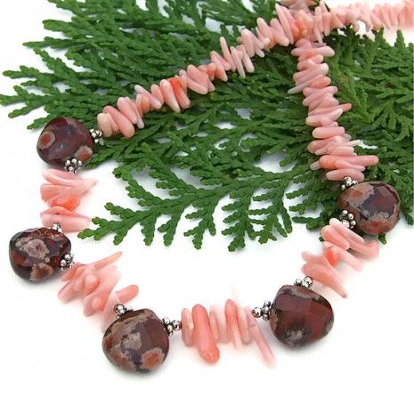 One of a kind beach necklace with apple jasper teardrops and pink coral frangia.