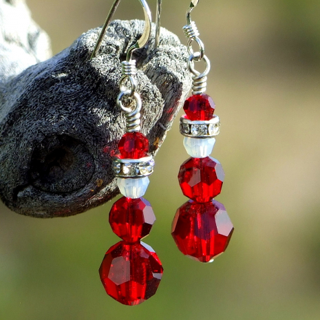 red swarovski crystal santa earrings holiday jewelry