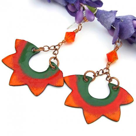 orange red and green enamel sun earrings gift for her