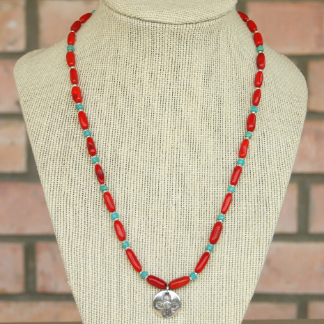 zia sun pendant and red coral necklace
