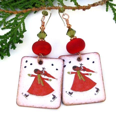 santa reindeer earrings lampwork swarovski crystals