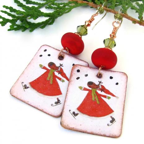 santa reindeer jewelry lampwork swarovski crystals