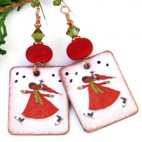 santa reindeer red white green enamel earrings christmas holidays