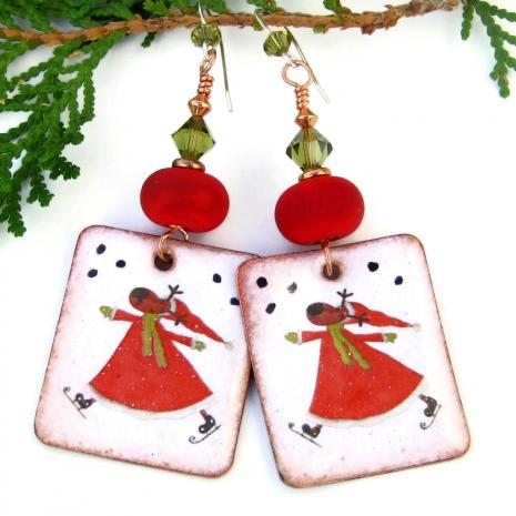 santa reindeer red white green enamel jewelry christmas holidays