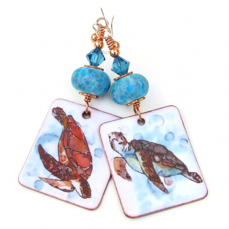 sea turtle earrings handmade gift for women