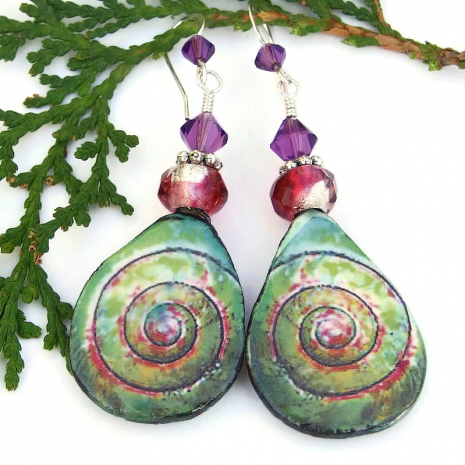 seashell ceramic jewelry with spirals gift for women