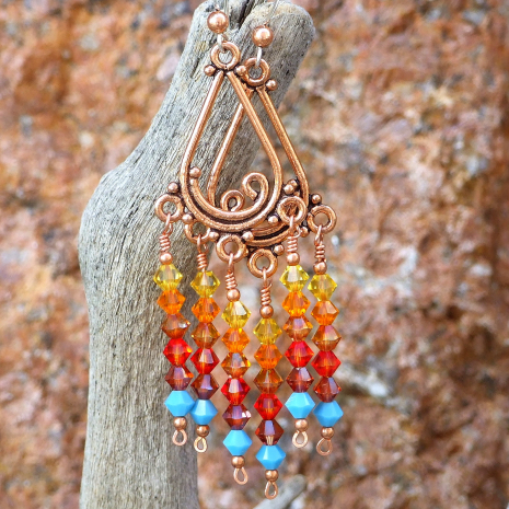 Chandelier earrings in sunset colors.