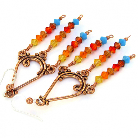 Fiery sunset colored copper and Swarovski crystal chandelier dangle earrings.