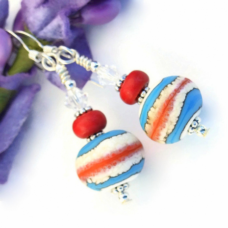 The Southwest inspired handmade earrings are perfect with blue jeans!