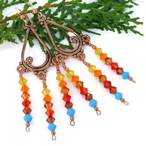 Sunset chandelier earrings.