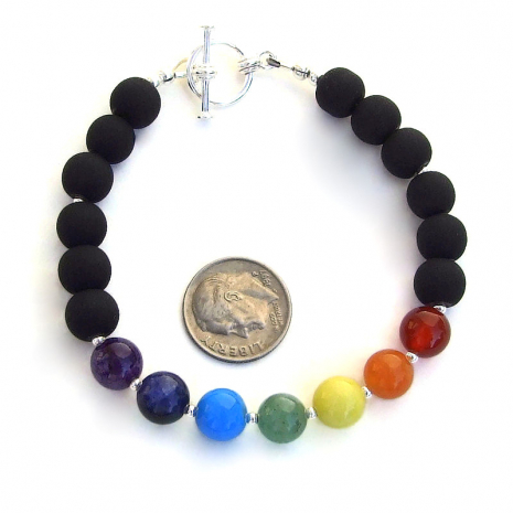 seven gemstone chakra handmade jewelry black matte glass sterling silver