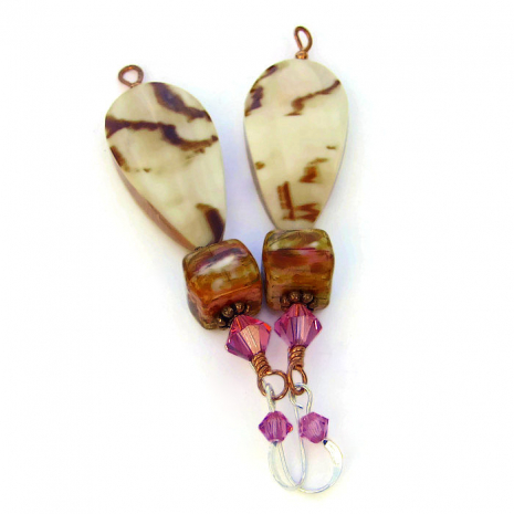 Boho shell earrings for women.