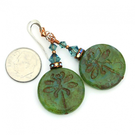 One of a kind olive green dragonfly earrings with Czech and Swarovski crystals.