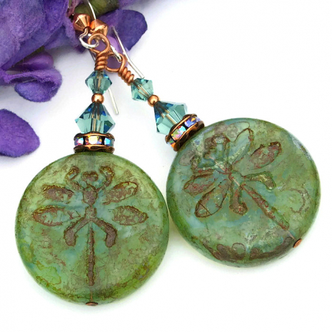 Olive green dragonfly earrings with Swarovski crystals.