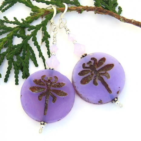 silky finish lavender purple dragonfly earrings with crystals
